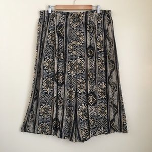 Vintage Tribal Patterned Cropped Pants Culottes